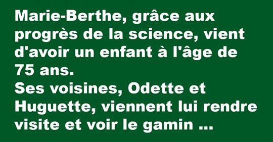 Marie-Berthe, grâce aux progrès de la science, vient d'avoir un enfant à l'âge de 75 ans. Ses voisines, Odette et Huguette……