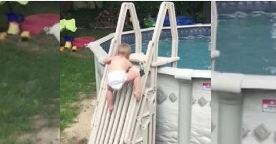 Le garçon de 2 ans escalade la piscine pourtant protégée – la vidéo terrifie les parents du monde entier